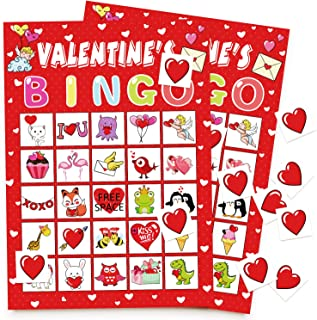 Valentine's Day Bingo Game Cards for Kids Class Party Supplies Activity - 24 Players
