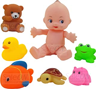 saleon one big boy + 6 pcs cute animals swimming water toys non-toxic , bpa free colorful soft rubber float squeeze sound ...