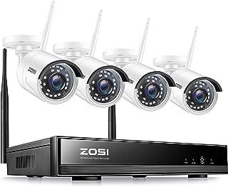 ZOSI 8CH H.265+ 1080P NVR Funk Überwachungsset mit 4 Drahtlos 2.0Megapixel Außen Tag..