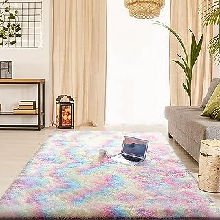 ラグ 明るい虹色 ふわふわ で柔らかい 滑り止め 付き カーペット 120×160cm 約1.5畳 ラグマット 洗濯機で洗えます 折り畳み 可能 1年中使えるタイプ 夏 冷房対応