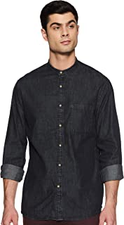 Celio Mens Mandarin Collar Washed Shirt