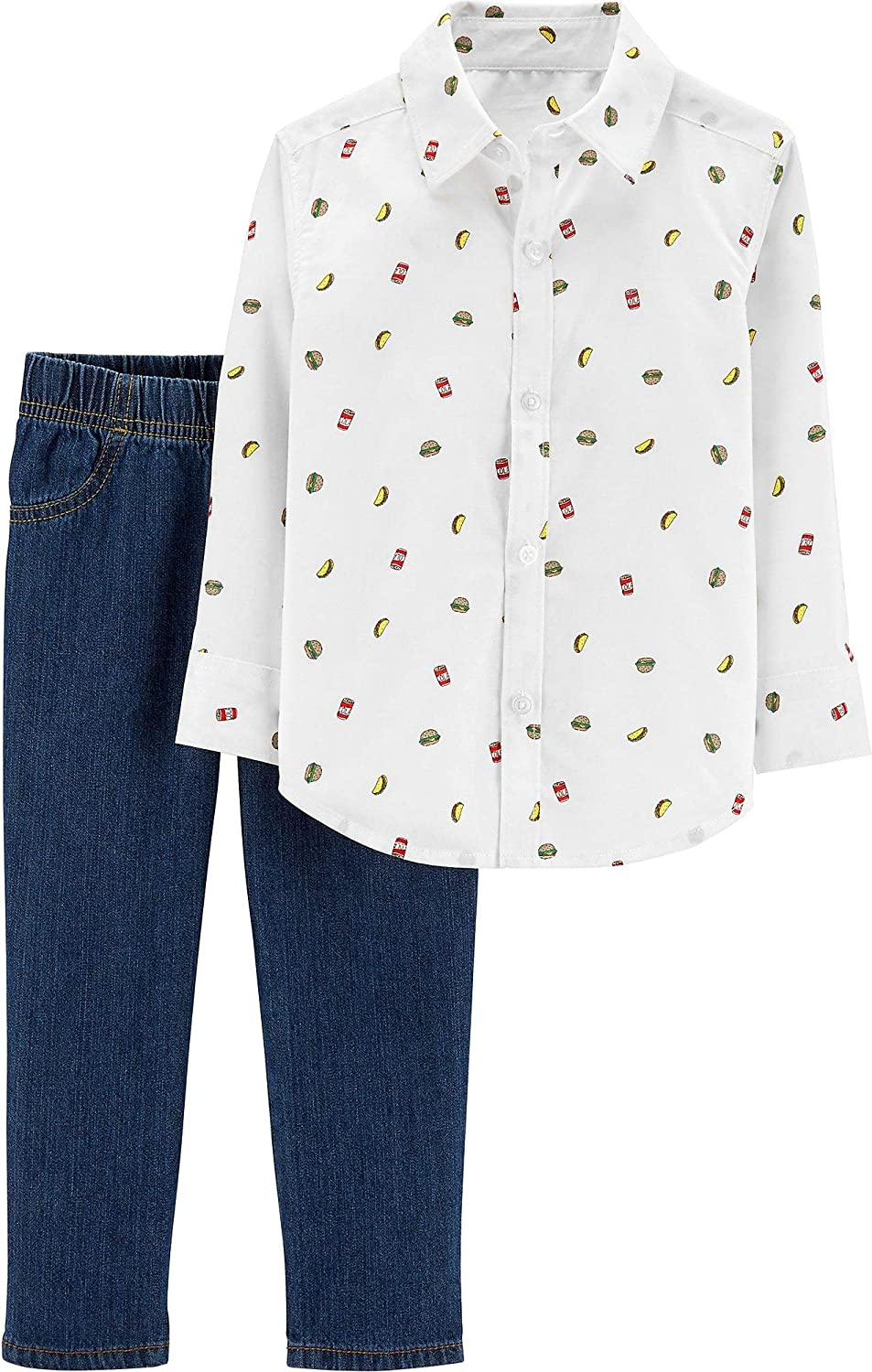 Carter's Baby Boys Fast Food Button Down Jeans Set 24 Months White Multi