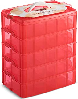LifeSmart USA Stackable Storage Container Red 50 Adjustable Compartments Compatible with Lego Dimensions LOL Surprise Littlest Pet Shop Arts and Crafts and More (5 Tier)