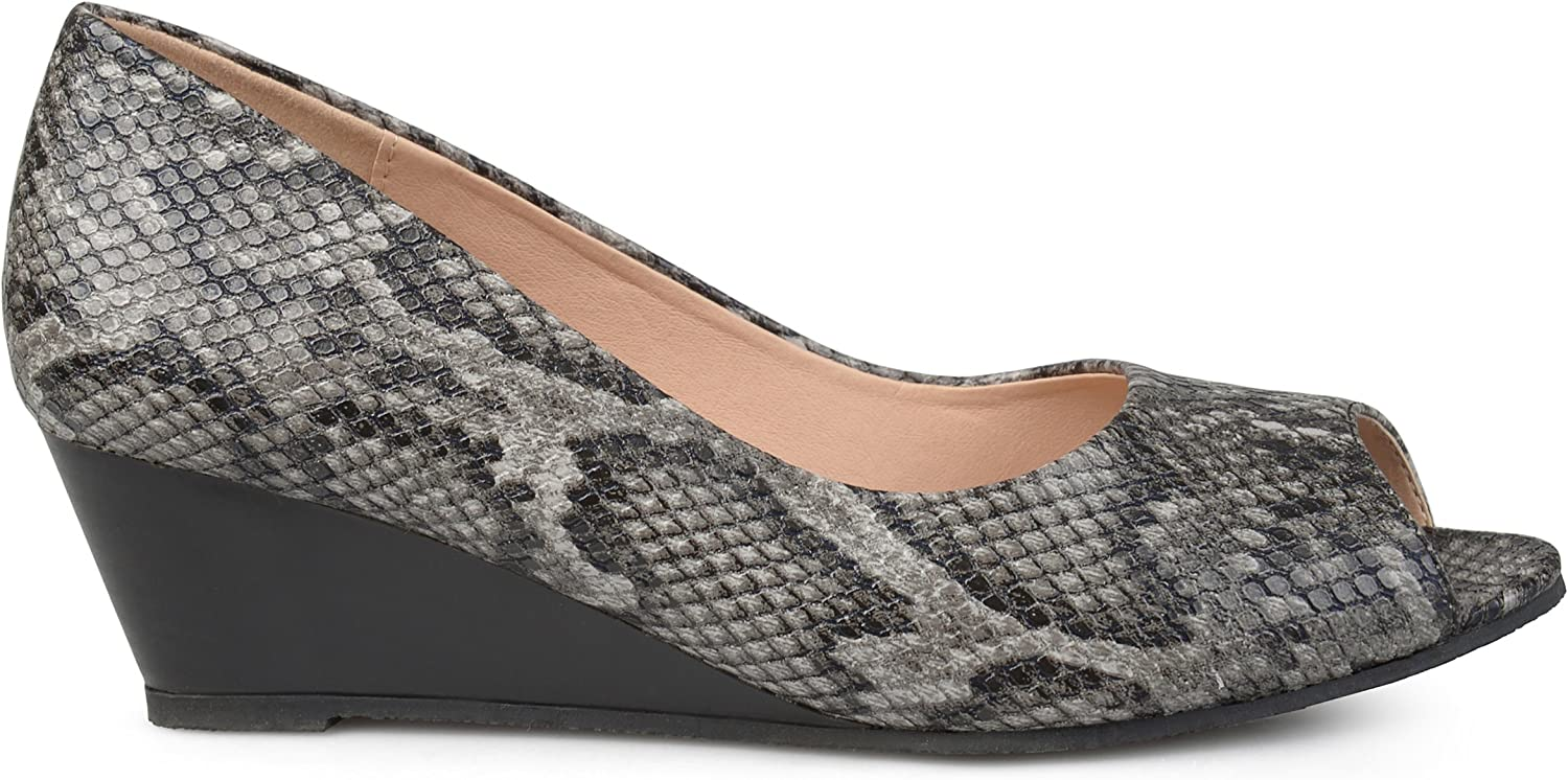 Brinley Co. Womens Callyn Faux Leather Comfort-Sole Peep-Toe Wedges