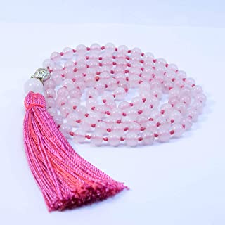 Japamala Cuarzo Rosa - Collar de Piedras de Cuarzo Rosa de 6 mm de 108 cuentas