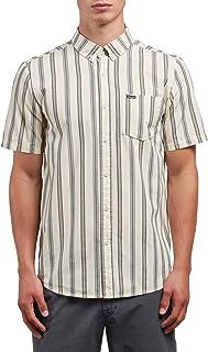 Volcom Men's Mix Bag Short Sleeve Vertical Stripe Button Up Shirt