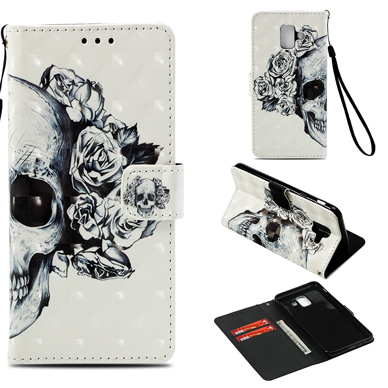 for Samsung Galaxy A6 Case, Galaxy A6 2018 Case,PU Leather Wallet Flip Full Body Protective Phone Cover with Credit Card Slot Wrist Strap Magnetic Closure Stand Accessories Skull Flower