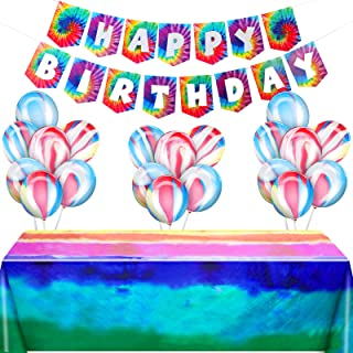 23 Pieces Tie Dye Birthday Party Decorations Include 1 Tie-Dyed Tablecover 2 Happy Birthday Banner and 20 Latex Balloons f...