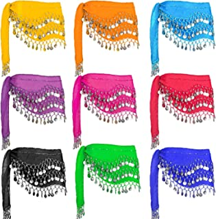 Jingle Skirts Zumba, 10PCS Hip Scarfs for Belly Dancing with 128-Silver Coins Belly Dance Waist Costume Belt, Chiffon Dangling Belly Dance Sequins Hip Scarves