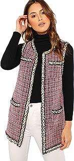 Women's Beaded Trim Open Front Tweed Vest Coat