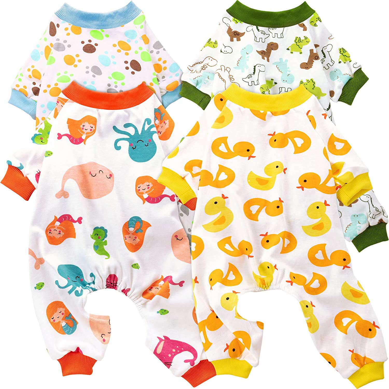 4 Pieces Puppy Dog Cotton Onesies Pet Dog Soft Pajamas Cute Pet Clothes Dog Jumpsuit Puppy Bodysuits for Pet Dog Cat Christmas 4 Styles Animals Patterns, Small