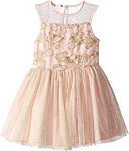 Embroidered Mesh Fit and Flare (Toddler/Little Kids)