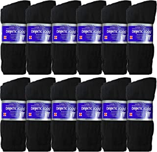USBingoshop 3, 6 or 12 Pairs Mens Physicians Approved Crew Ankle Diabetic Socks Cotton