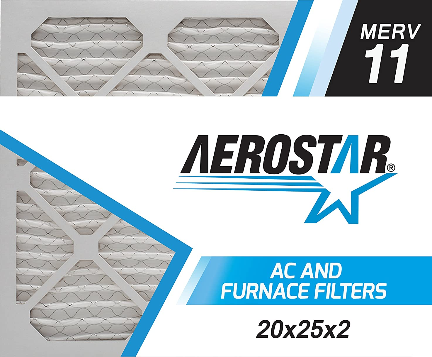 Aerostar 20x25x2 MERV 11, Pleated Air Filter, 20x25x2, Box of 6, Made in The USA
