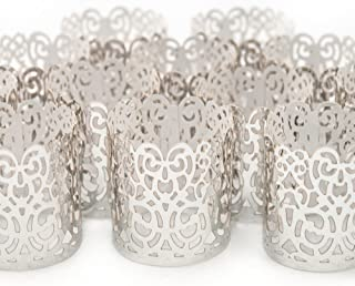 Frux Home and Yard Votive Candle Holders - Flameless Tea Light Votive Wraps- 48 Silver Colored Laser Cut Decorative Wraps Flickering LED Battery Tealight Candles (not Included)