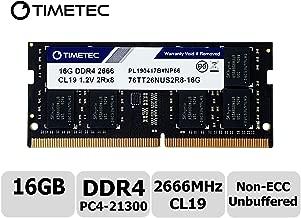 Timetec Hynix IC 16GB DDR4 SODIMM for Intel NUC KIT/Mini PC/HTPC/NUC Board 2666MHz PC4-21300 Non ECC Unbuffered 1.2V CL19 Dual Rank 260 Pin Memory Upgrade(16GB)