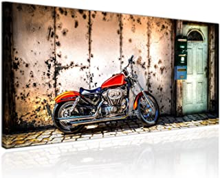 Harley Davidson Motorrad Frau Abstraktes Bilder auf Leinwand Wandbild XXXL 1339A