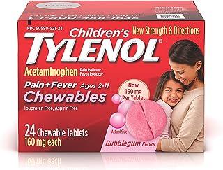 Children`s Tylenol Chewables, Acetaminophen for Pain & Fever Relief, Bubble Gum, 24 ct