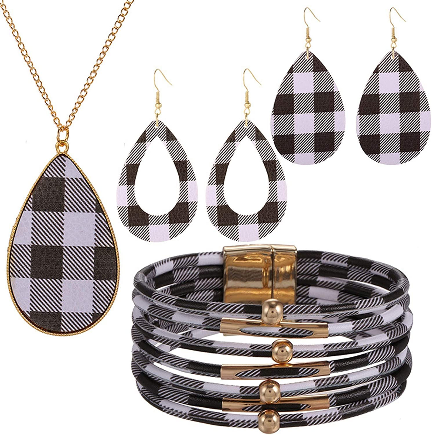 Pingyongchang 4-6 Pieces Christmas Plaid Print Jewelry Set Faux Leather Plaid Dangle Earring Necklace Xmas Checkered Teardrop Earrings Necklaces Lightweight Multi-Layer Gifts for Women Girls