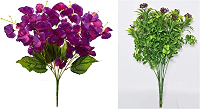 Fourwalls Artificial Rose Flower Bunches for Home and Office Décor (55 cm Tall, Purple, 5 Branches) + Artificial Green Plastic Bush with Beautiful Flowers for décor (36 cm Tall, Set of 2,Red)