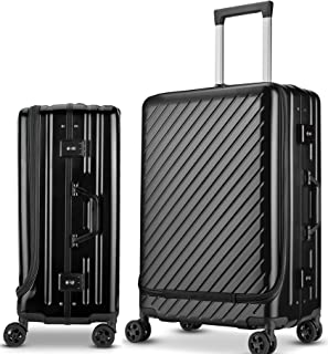 Langxj hj スーツケース キャリーバッグ 二重ファスナー式 容量拡張 アルミニウム合金デザイン 360°キャスター 機内持込可 厚くする 耐摩耗 TSAロック搭載 6022