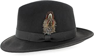Belfry Crushable Dress Fedora Men's Vintage Style Hat 100% Pure Wool in Black Blue Grey Pecan Brown and Striped Bands