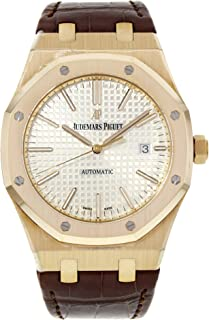 Audemars Piguet Royal Oak Automatic Silver Dial Brown Leather Strap Mens Watch 15400OROOD088CR01