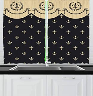 Ambesonne French Kitchen Curtains, Pattern of Fleur de Lis Ancient Symbol Illustration Baroque Inspired Print, Window Drapes 2 Panel Set for Kitchen Cafe, 55 W X 39 L Inches, Charcoal Grey Ivory