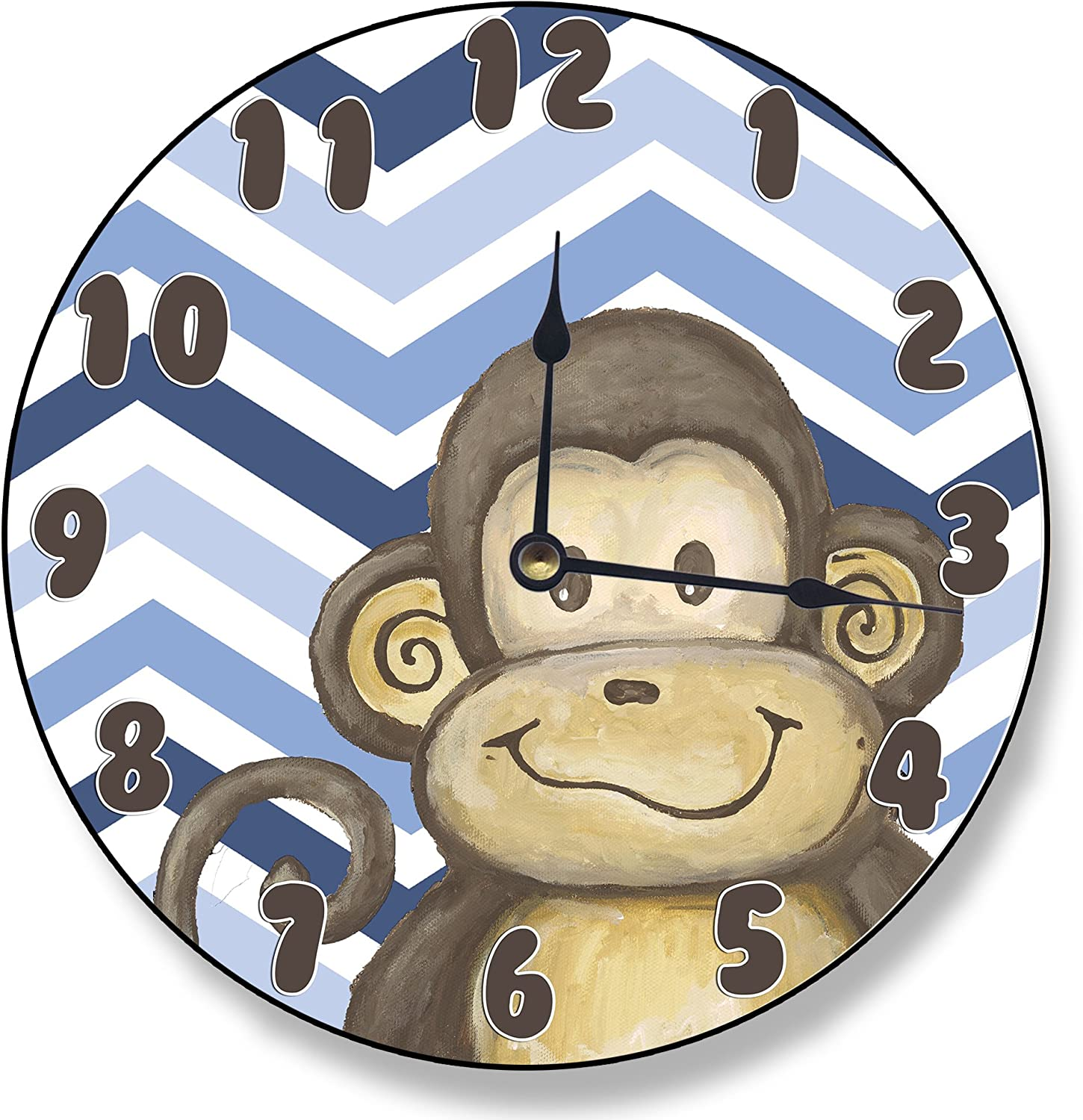 The Kids Room by Stupell Monkey on bluee Chevron Wall Clock