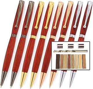 Legacy Woodturning, Fancy Pen Kit Starter Pack with Bushings, Hurricane M42 Cobalt Drill Bit, Pen Kits, Wood Pen Blank Sampler Pack