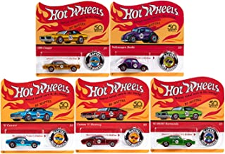 Hot Wheels 2018 50th Anniversary Originals Redlines Series Complete Set of 5 1/64 Diecast Cars, w/Button