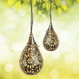 Gadgy Solarne latarnie zewnętrzne wiszące   2 sztuki   orientalne latarnie do ogrodu i na balkon   wiszące lampy solarne L...