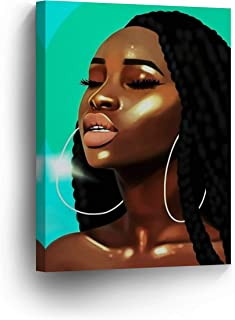 Sexy Box Braid Haired Woman Big Earrings Modern Art Digital Painting Canvas Print Decorive Wall Art African Art Home Decor Stretched Ready to Hang -%100 Handmade in The USA - 12x8
