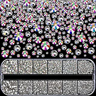 Nail Rhinestones 3360pcs, YGDZ Nail Gems Swarovski-Like Crystals AB Sparkling Glass Nail Stones with Storage Box for Nail ...