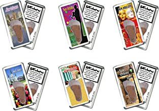 product image for FootWhere New Orleans Souvenir Magnets. 6 Piece Set. Authentic Destination Souvenir acknowledging Where You've Set Foot. Genuine Soil of Featured Location encased Inside Foot Cavity. Made in USA