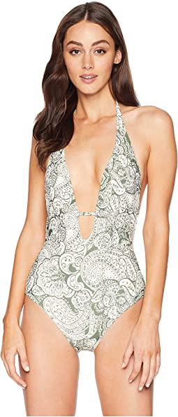 Oasis Tapestry Wrap Plunge One-Piece