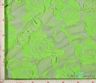 Lime Green Big Flower Stretch Lace Fabric 4 Way Stretch Nylon Spandex 4 Oz 56-58