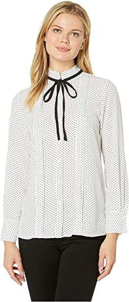 Long Sleeve Refined Pindot Blouse w/ Neck Tie