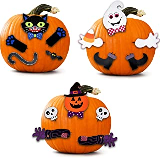 3 Pack Halloween Wooden Pumpkin Decorating Kit Make a Face Head and legs on your Jack o Lantern Trick or Treat Black Cat Ghost and Kids Activity Craft Party Favor Supplies by Gift Boutique