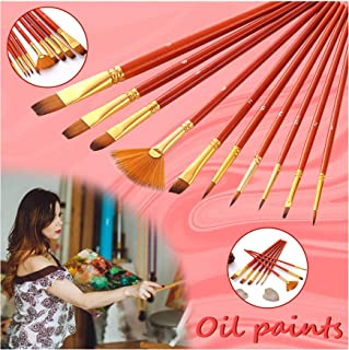 All Purpose Paint Brush 10Pcs Pack - Great with Acrylic, Oil, Watercolor, Gouache for Kids and Adults to Create Art Paint (10Pcs, White)