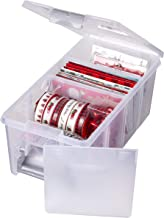 AB Designs 6925ABD Semi Satchel with Removable Dividers, Stackable Home Storage Organization Container, Clear with Sliver ...