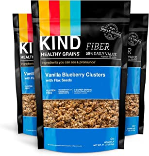 KIND Healthy Grains Clusters, Vanilla Blueberry with Flax Seeds Granola, 10g Protein, Gluten Free, 11 Ounce Bags, 3 Count