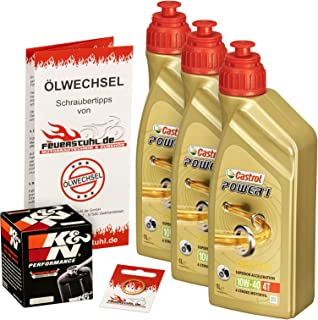 Castrol 10W 40 Öl + K&N Ölfilter für Honda NT 650 V Deauville, 98 05, RC47   Ölwechselset inkl. Motoröl, Filter, Dichtring