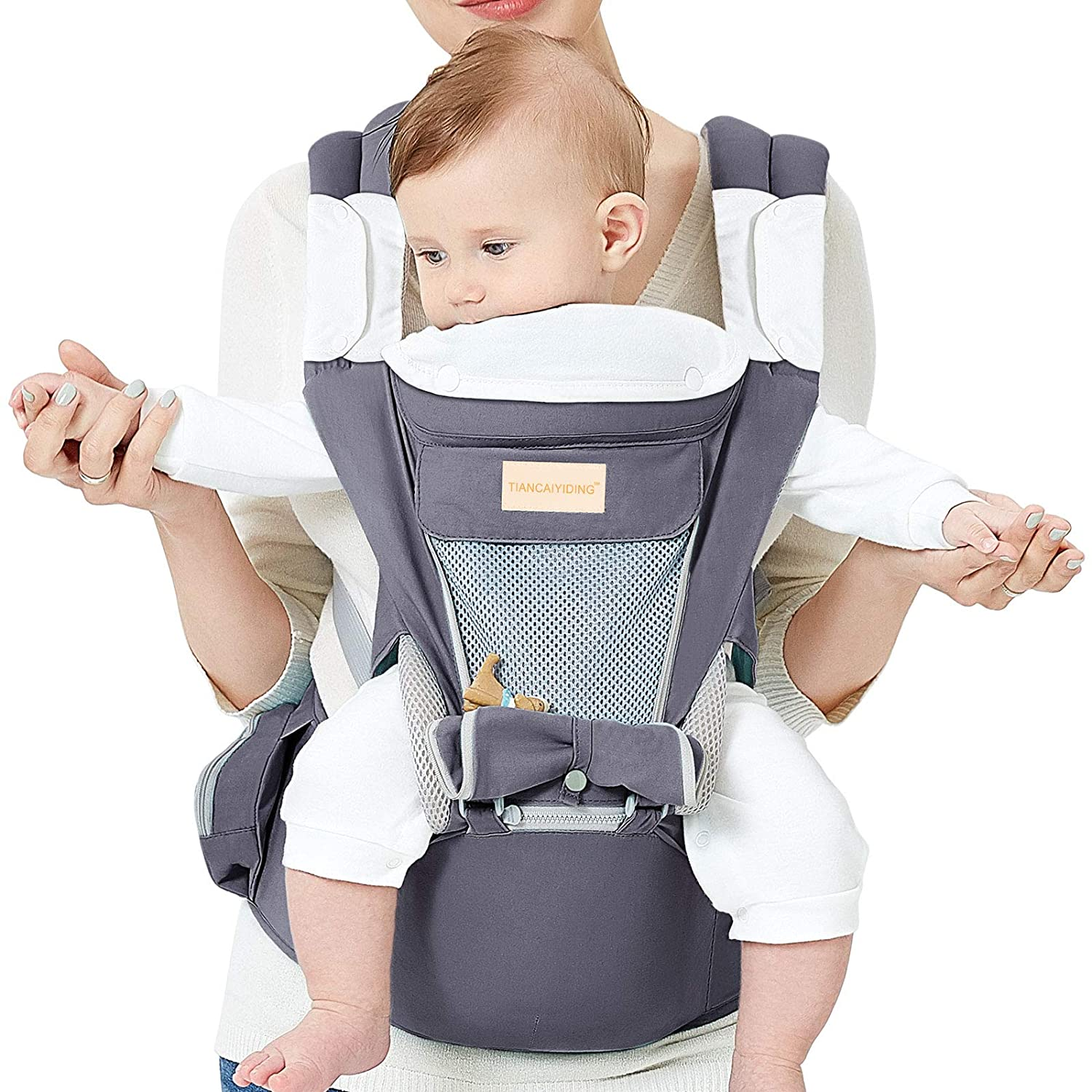 Baby Wrap Carrier with Hip Seat, Windproof Cap, Bite Towel as Well as 6 and 1 Convertible Backpack, Cotton Sling for Infants, Babies and Toddlers - Dark Grey