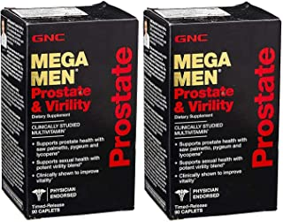 GNC Mega Men Prostate and Virility 90 Caps (Two Bottles of 90 Caplets)