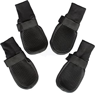 Dog Shoes Boots with Mesh Nonslip Rubber Soles to Protect Hardwood Floor and Prevent Scratching Licking