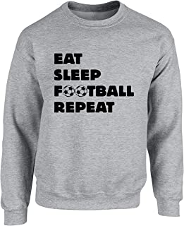 Hippowarehouse Eat Sleep Football Repeat Unisex Jumper Sweatshirt Pullover (Specific Size Guide in Description)