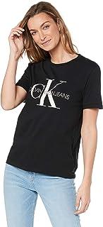 Calvin Klein Jeans Women's Washed Monogram Straight T Shirt, Ck Black, S