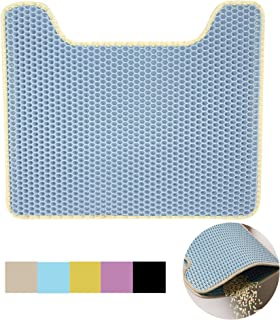 Lovinouse Cat Litter Mat, 21 x 17 Inch, Honeycomb Double-Layer Water Urine Proof EVA Litter Trapper, Easy to Clean, Non-Slip Mat for Floor, Carpet, U-Shaped