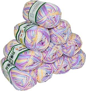 (mix white /purple / yellow) - Mangocore 500g 10Pcs Soft Smooth Natural Bamboo Cotton Hand Knitting Yarn Baby Cotton Yarn ...